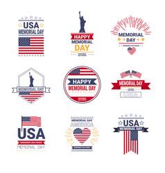 set memorial day usa greeting card wallpaper vector image