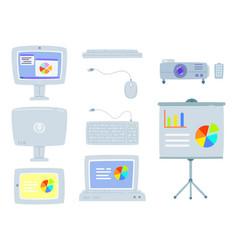 set of office equipment computer projector vector image