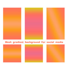 Set trendy gradient mesh background for social vector