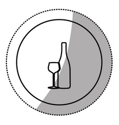 Silhouette emblem wine bottle with glass icon vector
