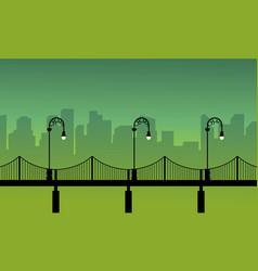 Silhouette of street lamp woth bridge landscape vector
