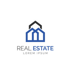 simple monogram real estate logo vector image