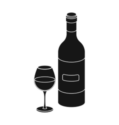 Spanish wine bottle with glass icon in black style vector
