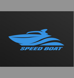 Speed boat logo on a dark background vector