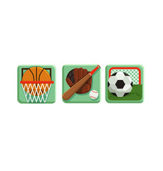sport game icons with baseball bat and football vector image