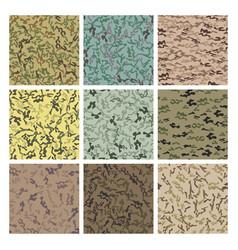 style camouflage khaki seamless pattern set vector image