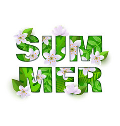 Summer inscription with white green flowers vector