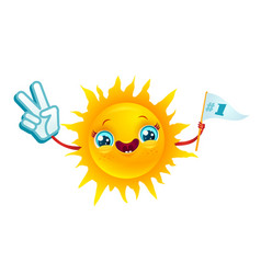 sun with in kawaii style smile vector image