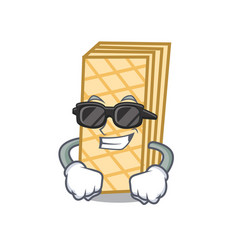 Super cool waffle character cartoon style vector
