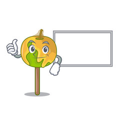 Thumbs up with board candy apple character cartoon vector