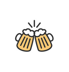 Toasting beer glasses cheers flat color vector