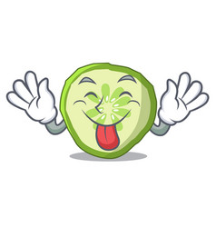 Tongue out vegetable organic food slice cucumber vector
