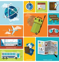 Travel And Journey Flat Icon Set vector