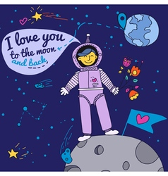 Valentines Day Card with Spaceman vector image