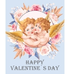 Vintage card with embracing angels vector