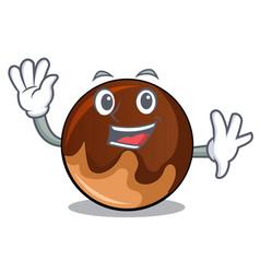 Waving chocolate donut character cartoon vector