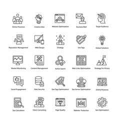 Web and seo line icons vector