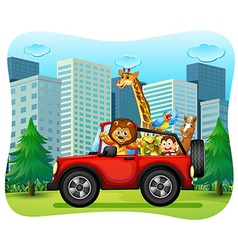 Wild animals riding on red jeep vector image