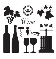 Wine icons collection black vector