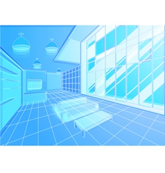 Wireframe living room vector image