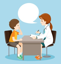 Woman Doctor Ask Boy About Symptoms vector