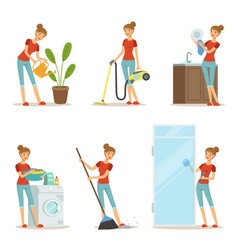 Woman making different housework active mother at vector