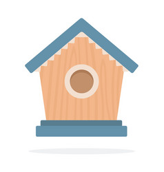 wooden birdhouse flat isolated vector image
