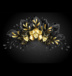 wreath black orchids vector image