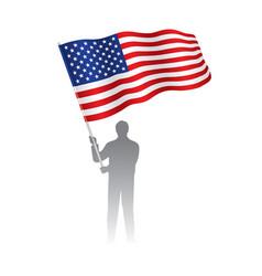 young man holding usa flag vector image