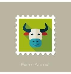Bull flat stamp Animal head vector image
