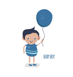 cute little baby boy with balloon vector image