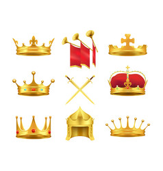 golden ancient crowns and swords set on white vector image vector image