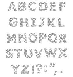 hand written checkered alphabet vector image