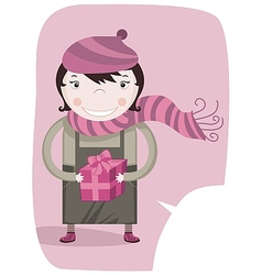 Happy little girl and gift box vector image vector image