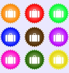 suitcase icon sign A set of nine different colored vector image