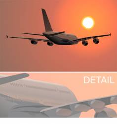 a-380 silhouette at sunset vector image