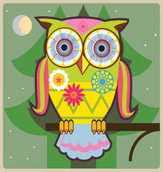 cartoon owl green general vector image vector image