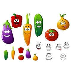 Cartoon vegetables with funny emotions vector image