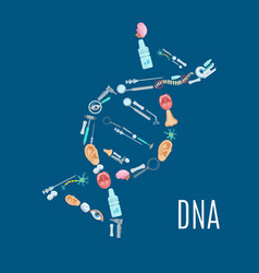 dna strand symbol with medical examination icons vector image vector image