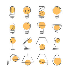lamp line icons set isolated on white vector image vector image