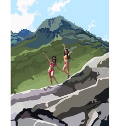 Two women in bathing suits dance in the mountains vector