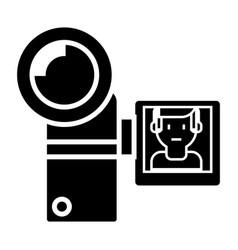 video camera icon black sign vector image vector image