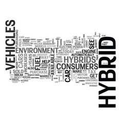 what exactly is a hybrid car text word cloud vector image vector image