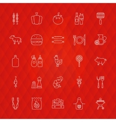 Barbecue Line Icons vector image vector image