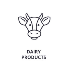 dairy products cow head line icon outline sign vector image