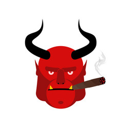 evil satan with cigar aggressive devil with horns vector image