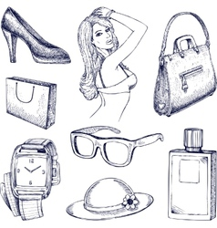 Hand drawn fashion elements vector image vector image