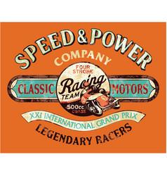speed and power vintage motorcycle racing team vector image