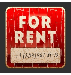 Vintage sign with the inscription For Rent vector image