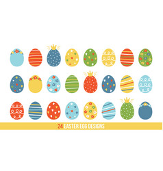 big set collection of cartoon doodle easter eggs vector image vector image